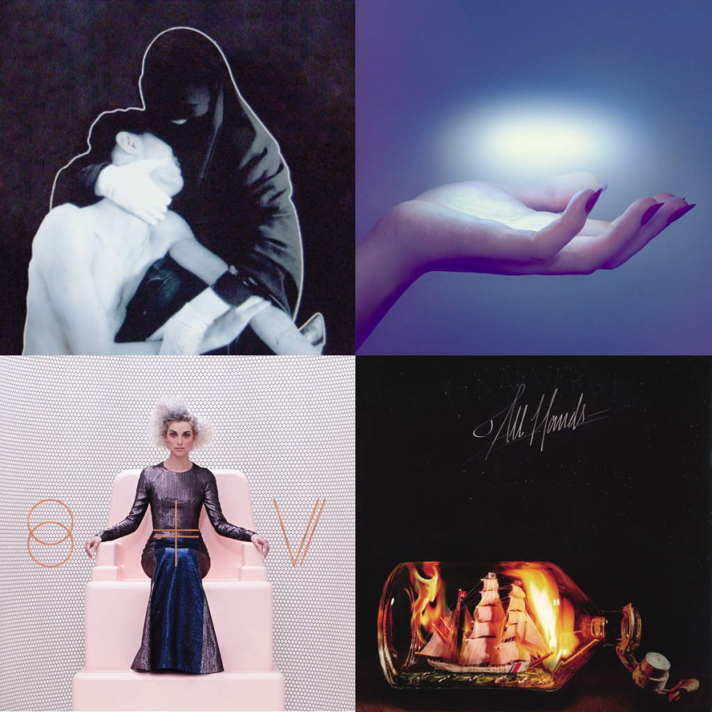left-right going down: Crystal Castles – III, Spoon – They Want My Soul, bottom-lef-right: St. Vincent - s/t, Doomtree - All Hands