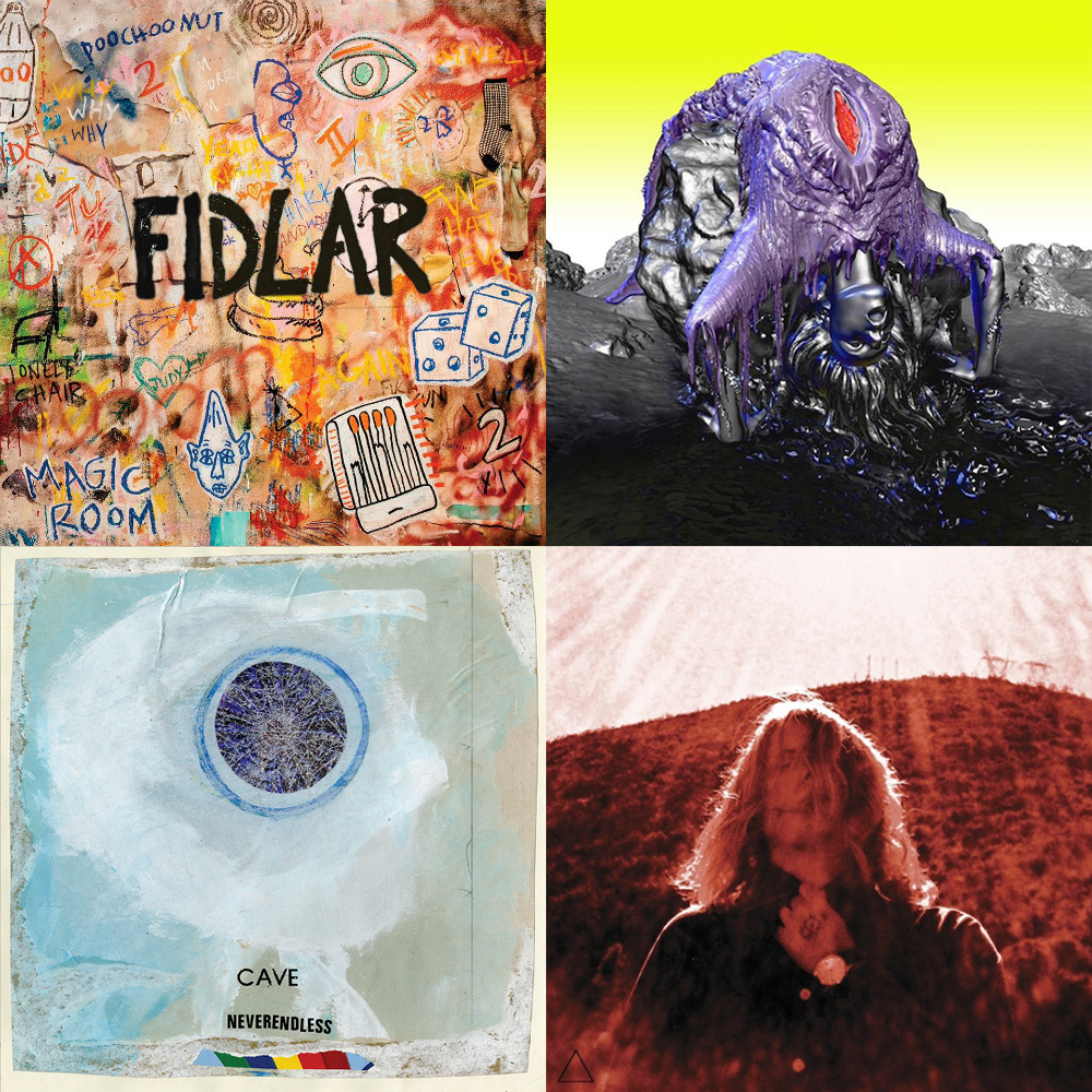 left-right going down: FIDLAR - Too, Björk – Vulnicura, Cave - NEVERENDLESS, Ty Segall - Manipulator