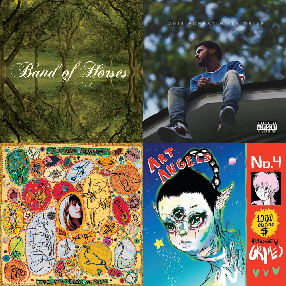 Band of Horses, J. Cole, Joanna Newsom, and Grimes among others available at Shuga Records